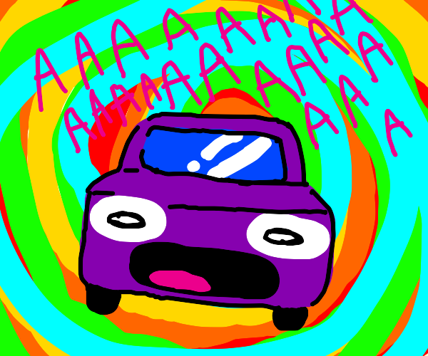 Screaming car is engulfed in colored energy