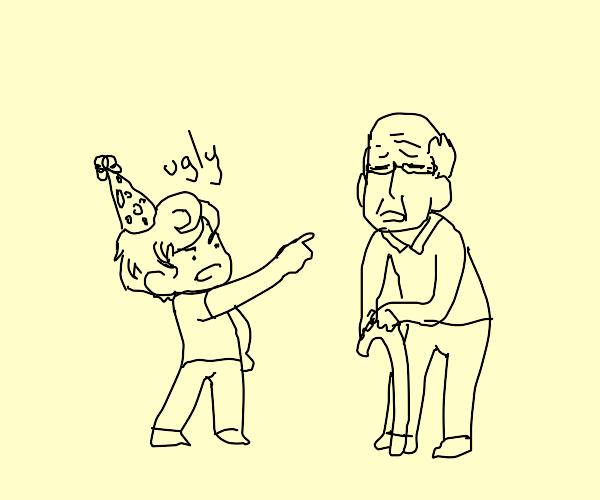 birthday boy insults elder