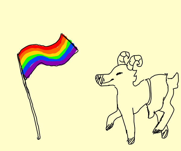 goat with a skirt is happy for lgbtq+