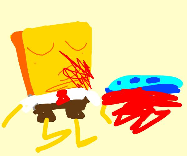 Spongebob murders a slug with his nose