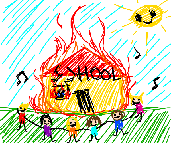 Burning school... happy kids