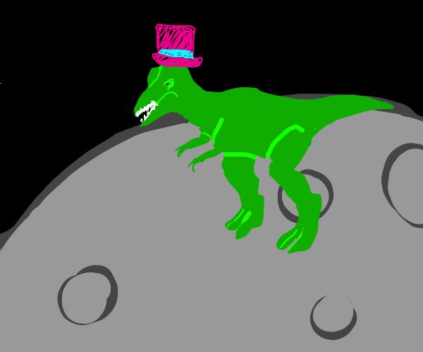 Tyrannosaurus in top hat on moon