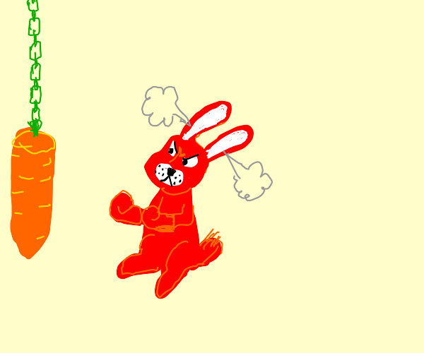 Angry red rabbit