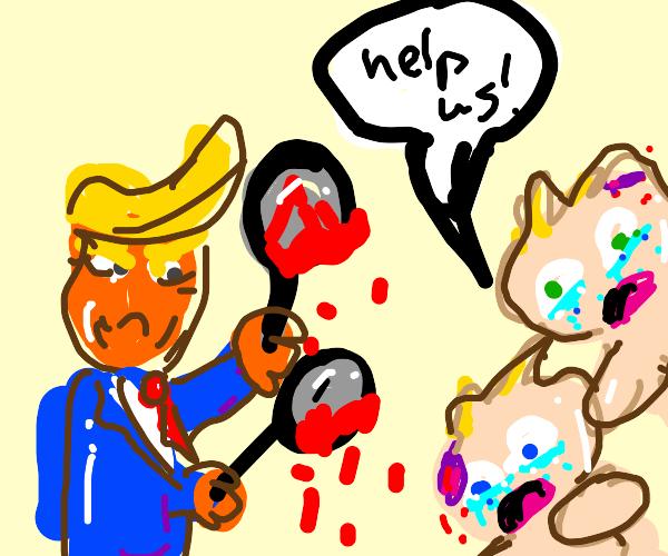 trumpwith blood filled frying pan hits 2 kids