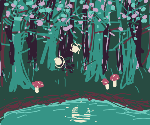 forest by a lake