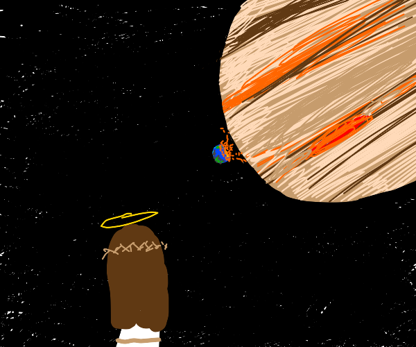 Jesus watches jupiter hitting earth