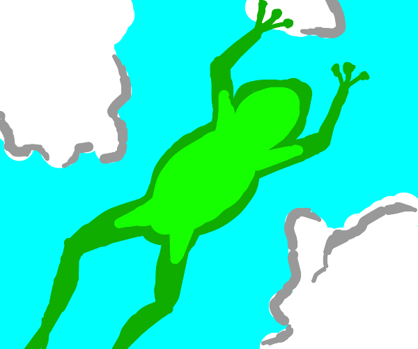 Frog hopping in the clouds