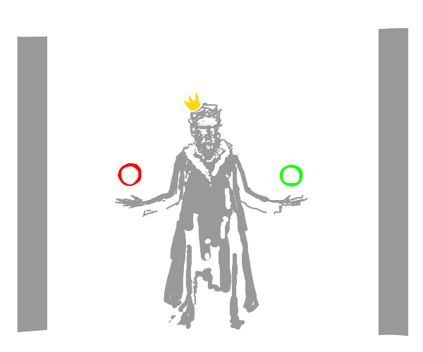 King holding red and green lights