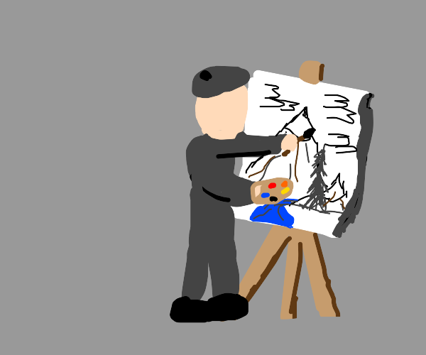 a guy painting