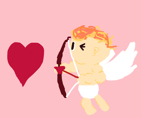 Cupid shoots a heart
