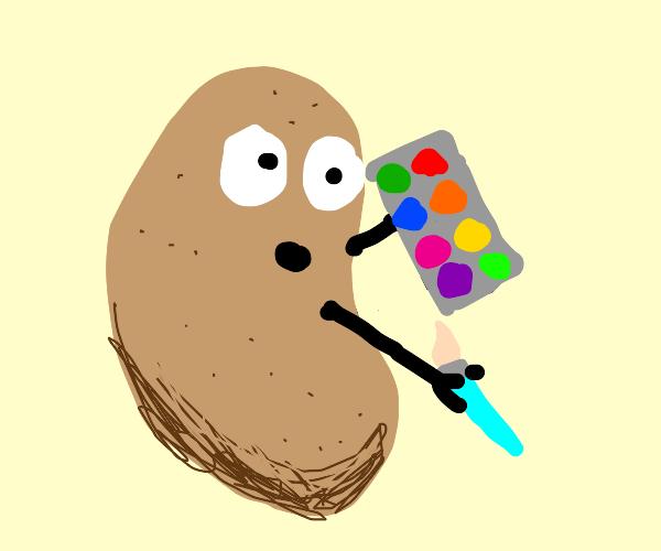 Potato holds watercolor paint pallet