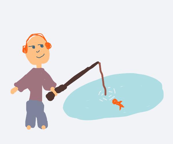 Headphones guy fishing