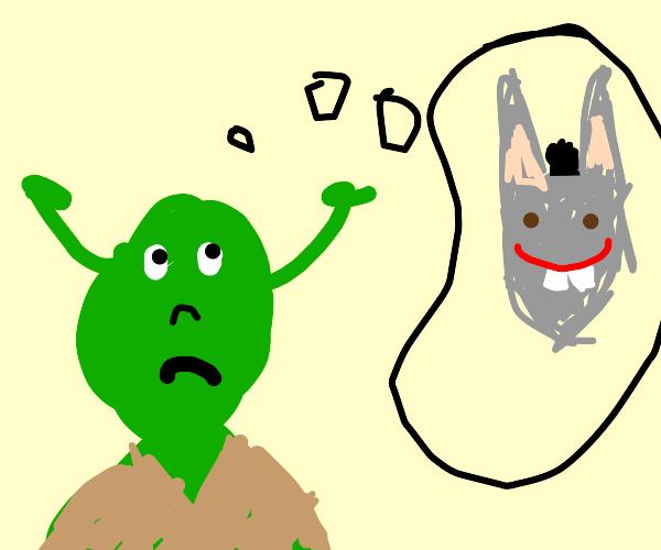 Shrek thinks of Donkey