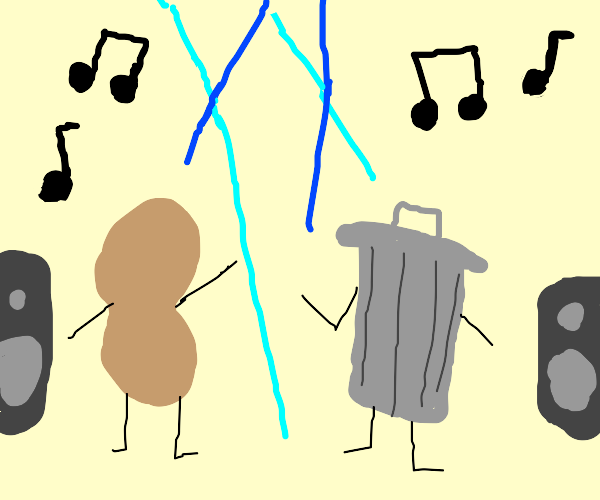 Peanut and trash can  dance party