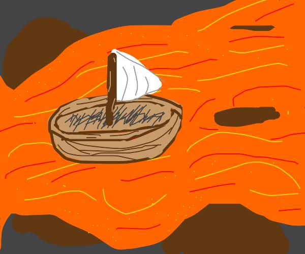 Boat in lava