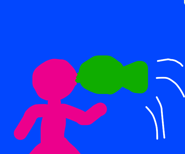 Pink guy kissing a green flying fish