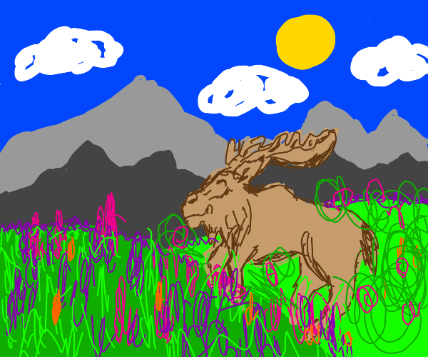 a moose frolicking in a field of flowers