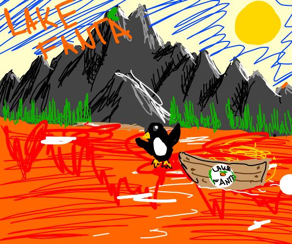 Penguin dives into orange fanta lake