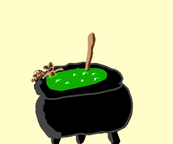 squirrel in a cauldron