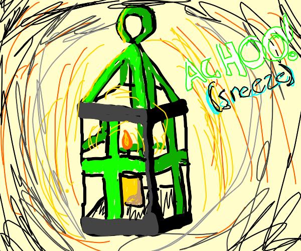 Green lantern sneezes