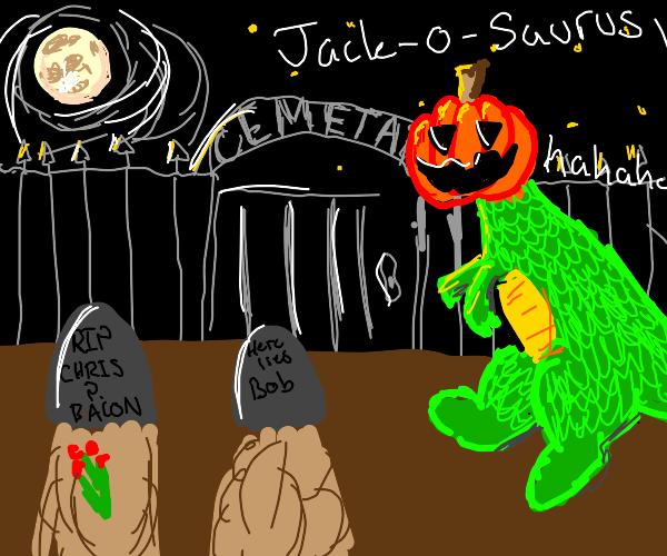 Jack-o-saurus terrorizes a cemetary