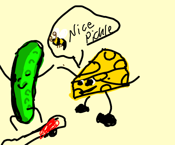 Cheese tries to convince a pickle to be nice.