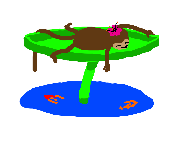 a monkey on a lily pad at a small pond