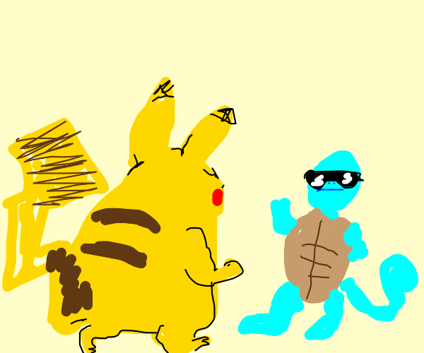 Pikachu approaching Squirtle
