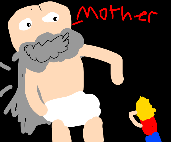 baby with a beard asks for hiis mother