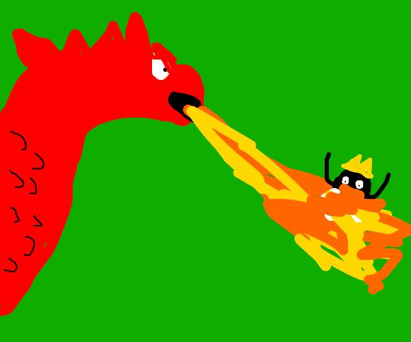 Dragon breathes fire onto king