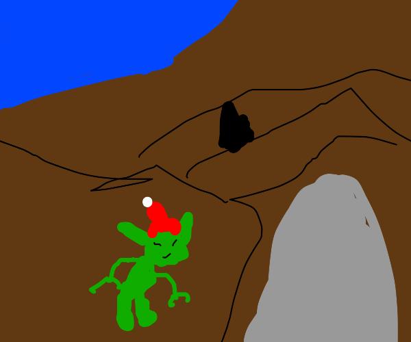 Gremlin entering a Cave.