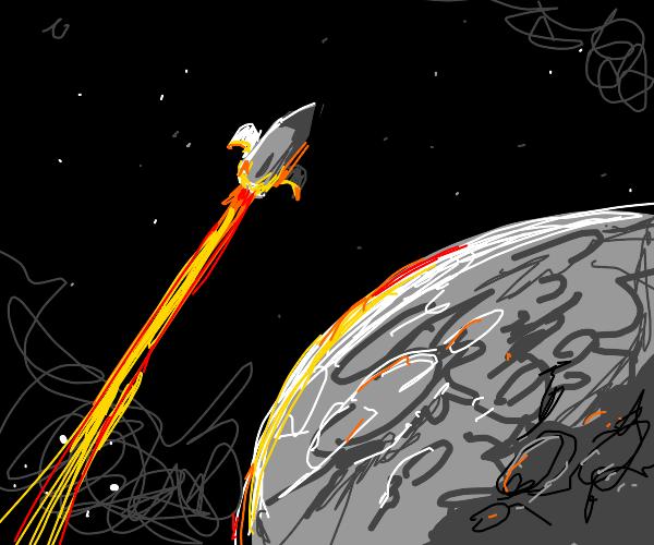 Rocket Flies Past the Moon
