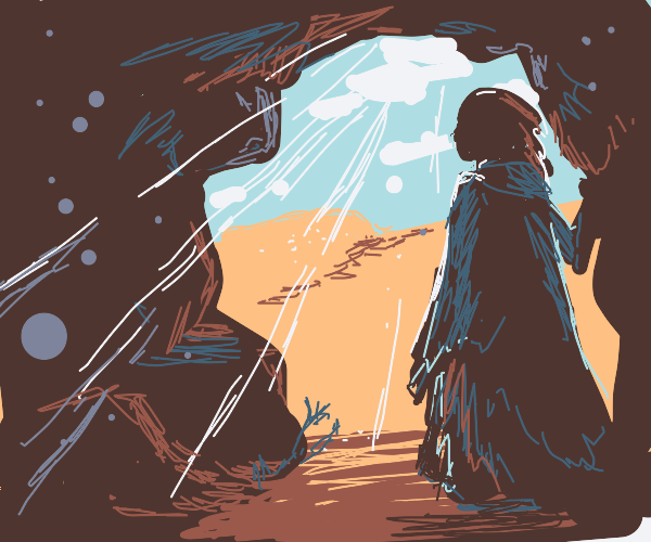 Leaving a cave for the sunlit desert