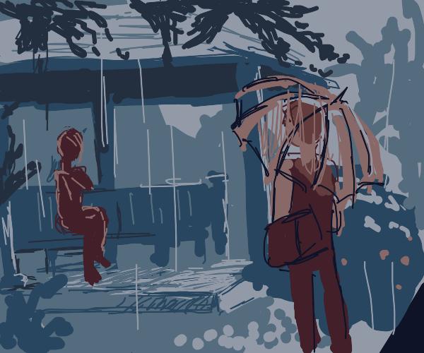 Quick! Draw a rainy anime scene b4 Sayu sees!