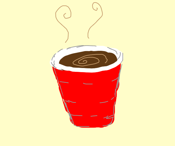 red solo cup with coffee in it