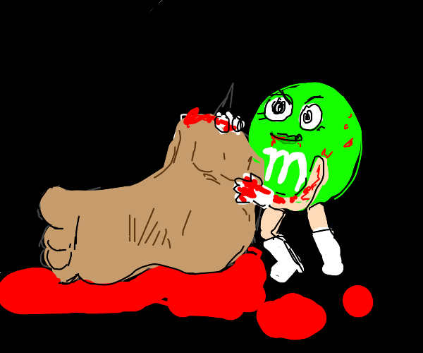 green m&m steals a person's foot