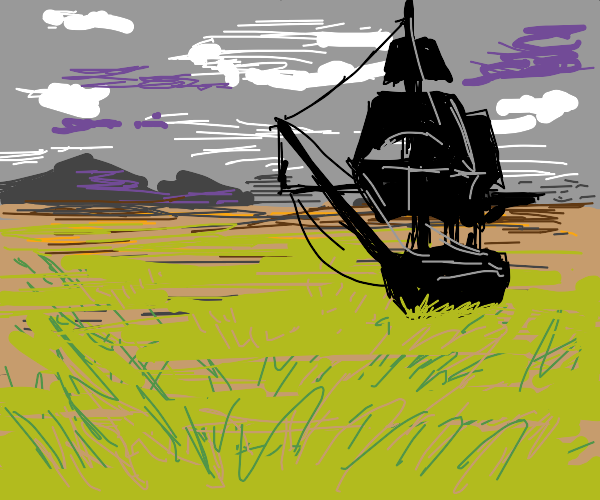 boat on grass