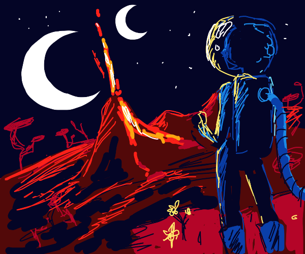 standing on a red planet with 2 moons