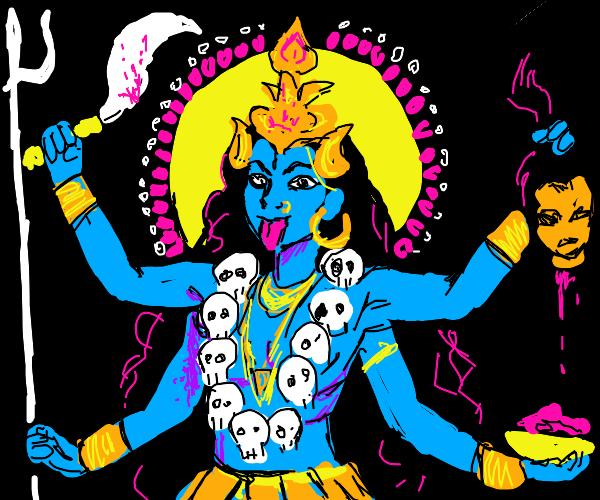 Blue four armed goddess of war