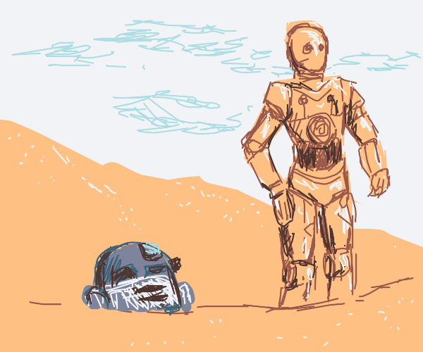 C3PO arrives on Tatooine