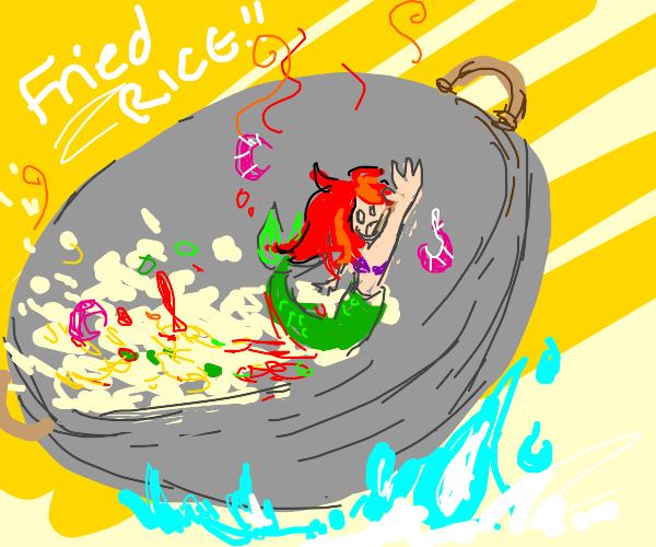 lil mermaid stuck on wok :(