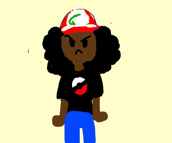 Angry Black Girl With Pokemon Shirt
