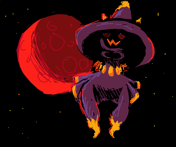 mismagius infront of an ominous red moon