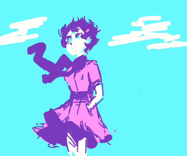 Girl with purple hair & pink dress in wind
