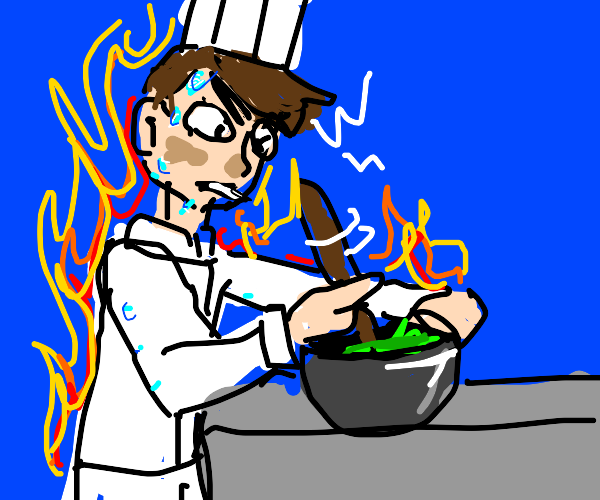 Chef mixing a Bowl while on fire
