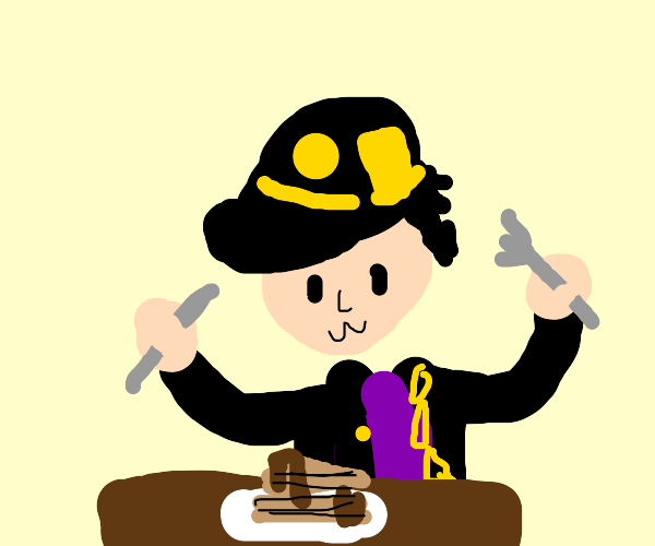 Jotaro eating pancakes
