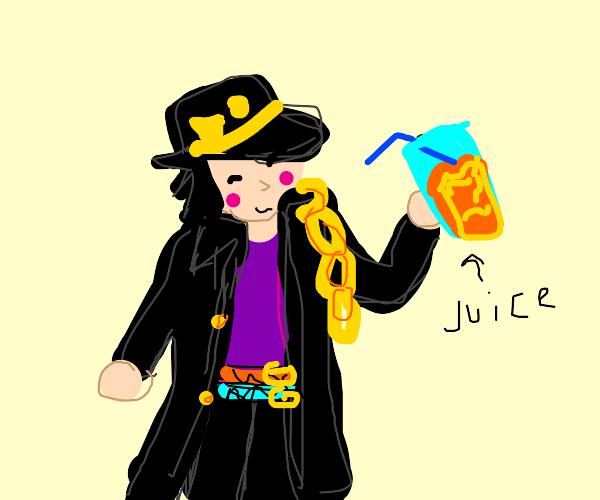 Jotaro drinking juice