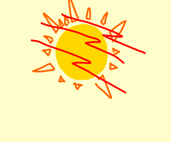 The sun with three lines going through it