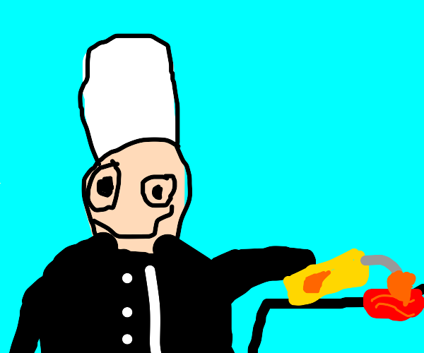 Chef uses flamethrower to cook