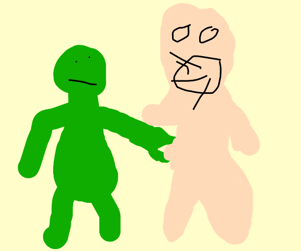 Green man pinches a guy screaming